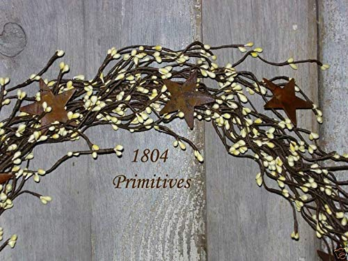 (Primitive & Country Style 40'' Pip Berry Garland w/Rusty Tin Stars ~ Ivory/Cream Rustic Home Decor)