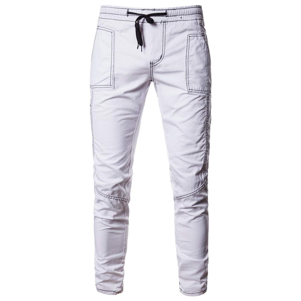 HTHJSCO Men's Joggers Pant, Casual Solid Loose Patchwork Pocket Sweatpant Trousers (White, L)