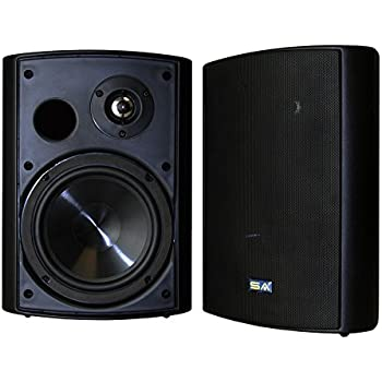 "Bluetooth 6.50"" Indoor/Outdoor Weatherproof Patio Speakers, Wireless Outdoor Speakers (Black- pair),by Sound Appeal"