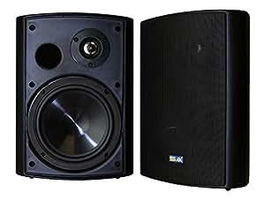 "Bluetooth 6.50"" Indoor/Outdoor Weatherproof Patio Speakers, Wireless Outdoor Speakers (Black- pair),by Sound Appeal"