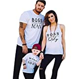 Raptop Daddy or Mommy or Baby Family Matching T-Shirt Tops White O-Veck White(Dad), L