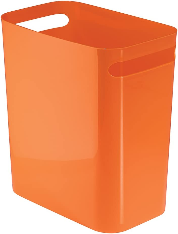 iDesign Una Rectangular Trash Can with Handles, Waste Basket Garbage Can for Bathroom, Bedroom, Home Office, Dorm, College, 12-Inch, Orange