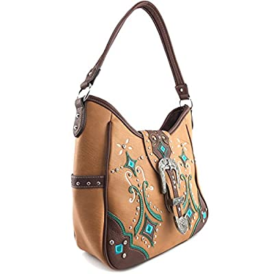 Justin West Tooled Western Leather Turquoise Concho Rhinestone Buckle Studded Shoulder Concealed Carry Handbag Purse
