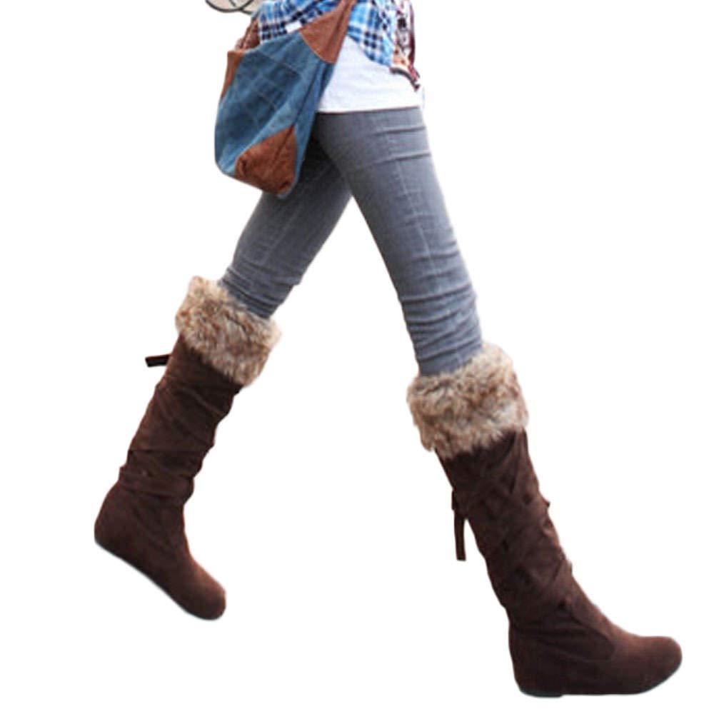 JOYTO Kniehohe Stiefel Damen mit Absatz Winter Gefüttert Für Flach Wildleder Leder Keilabsatz Stiefeletten 4 cm Wedges Boots Schnüren Elegant Schwarz