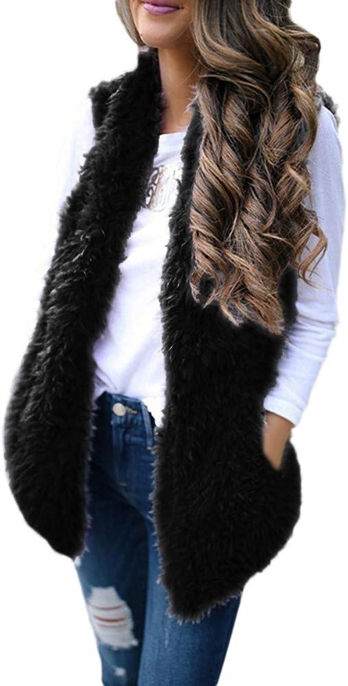 Ladies Sleeveless Faux Fur Lined Hooded Open Front Gilet Waistcoat Jacket Coat
