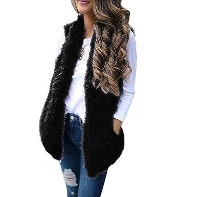 0408583c80876 Clearance!!Womens Sexy Faux Fur Vest Waistcoat, Warm Sleeveless Mid ...