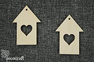 10x Wooden House Small Home Shape Heart Blank Hanging Plain Decoration W36