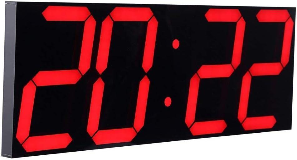 CHKOSDA Reloj de pared con función de cuenta atrás, 6 pulgadas LCD digital, ajuste de brillo automático, mando a distancia, gran calendario para casa, dormitorio, oficina, plástico, rojo