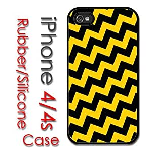 iPhone 6 4.7 for kids Rubber Silicone Case - Crooked Chevron Charlie Brown Yellow Black