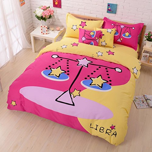 SAYM Home Bedding Sets,Lovely Style Twelve constellation Printed Comforters and Bedding Sets,The Zodiac Duvet Covers,King Size(1 Duvet Cover, 1 Bed Fitted Sheet, 2 Pillow Cases) Libra
