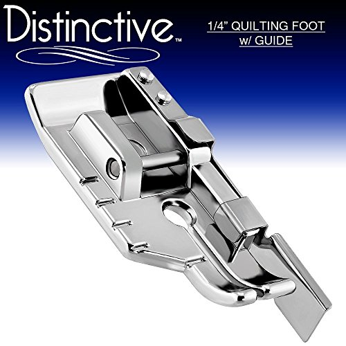 Distinctive 1-4 (Quarter Inch) Quilting Sewing Machine Presser Foot with Edge Guide – Fits All Low Shank Snap-On Singer, Brother, Babylock, Janome, Kenmore, White, Juki, Simplicity, Elna and More!