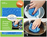 NO ODOR Dish Cloth for All Purpose Dish Washing (3 Pk) | No Mildew Smell from Sponges, Scrubbers, Wash Cloths, Rags, Brush | Outlast ANY Kitchen Scrubbing Sponge or Cotton Dishcloth