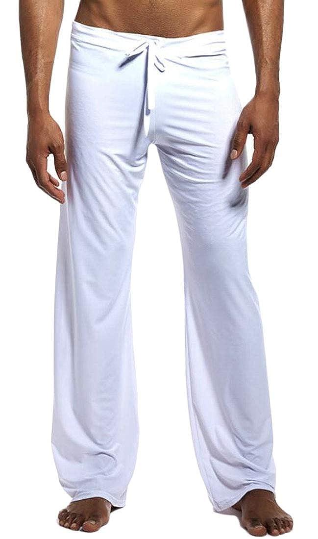 ouxiuli Men Comfort Drawstring Loose Pure Color Homewear Lounge Yoga Trousers