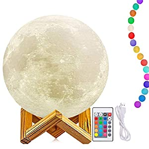 7 Inch Moon Lamp, 3D Printing Moon Light with Stand, The 3D Moon Lamp with LED 16 Colors, Touch Control and Remote Control(Diameter18CM)