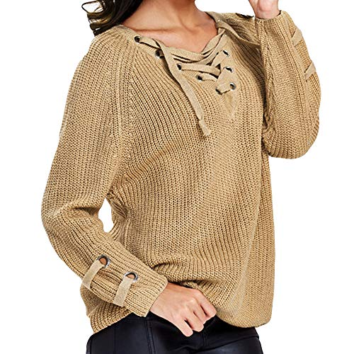 - Knited Sweater,Women's Solid Long Sleeve Top V Neck Criss Cross Knitwear by-NEONESUN