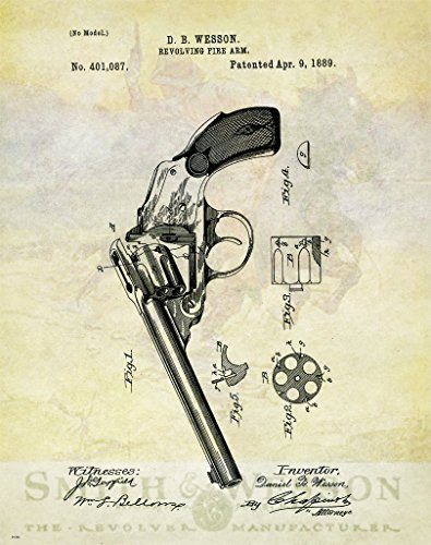 Smith & Wesson Revolver Patent Poster Art Print Reproduction Hunting Sporting Clays Thrower 11x14 Wall Decor Pictures