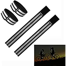 High Reflective Safety Armbands Ankle Bands Wristband Sweatband Wrist Wrap Belt Trousers Pants Leg Strap Sleeves, High Visibility Elastic Brace for Cycling Walking Jogging Running - (31+37CM)-BK