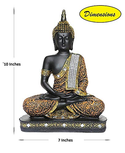 Om Arts Sitting Buddha Idol Statue Showpiece- Orange and Black