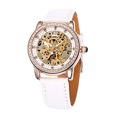 SHENHUA Jewelry Plated Classic Round Automatic Golden Skeleton Mechanical leather strap Ladies Watch