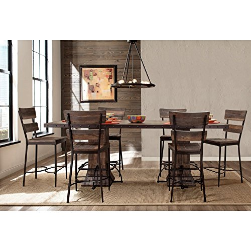 (Hillsdale Jennings 7 Piece Counter Height Dining Set in Walnut )