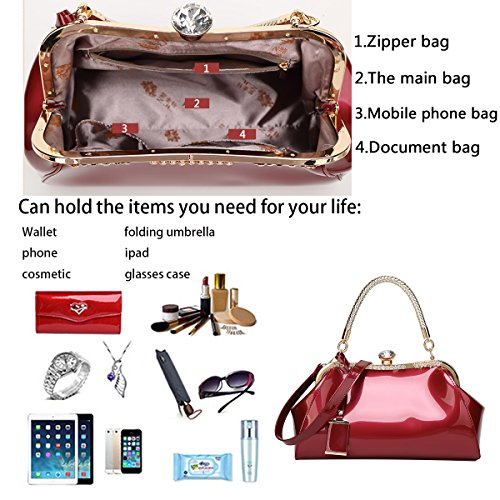 New Diamond Wine Shoulder Leather Bag Red Patent Fashion Tisdaini Messenger Handbag Women's Simple nfFUFA