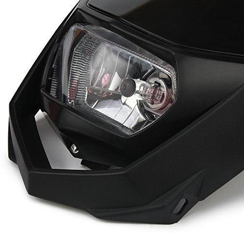 Black Universal Headlight Head Lamp Light Fairing Street Fighter Mask Day Running Light Turn Signal Lights For ATV Scooters Dirt Pit Bike Enduro
