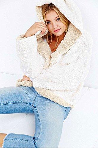 Choies Women's Beige Junior Batwing Sleeves Cute Faux Fur Winter Hooded Cardigan Coat ()