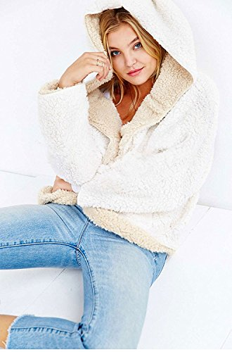 (Choies Women's Beige Junior Batwing Sleeves Cute Faux Fur Winter Hooded Cardigan Coat L)