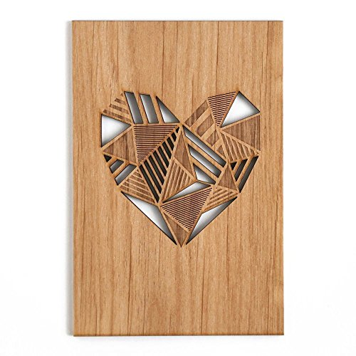 Patchwork Heart Laser Cut Wood Card (Love / 5 Year Anniversary/Boyfriend or Girlfriend/Mother's Day/Valentine's Day)