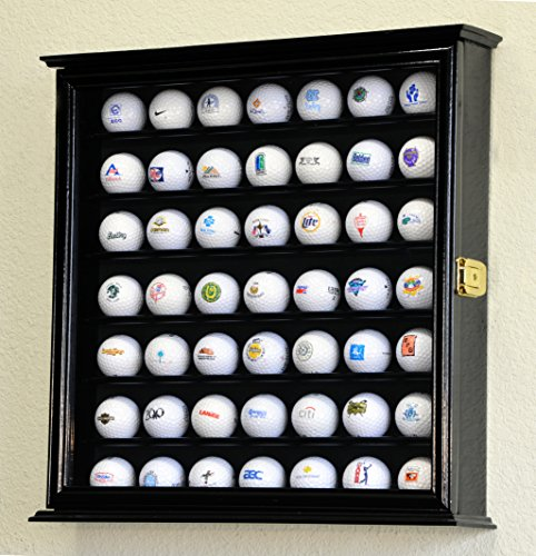 49 Golf Ball Display Case Cabinet Wall Rack Holder w/98% UV Protection Lockable - Glass Case Ball Display Golf