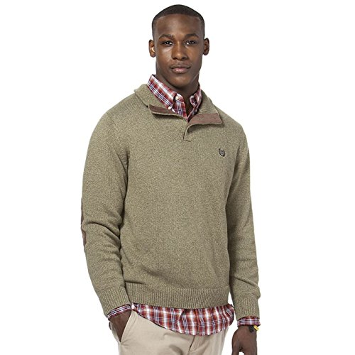 Chaps Men's 3-Button 1/4 Mock Neck Marled Twist Sweater (Small, Sage Twist) by Chaps