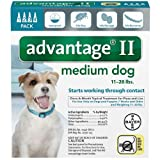 Bayer Advantage 2 Medium Dog 4-Pack 11-20# Teal