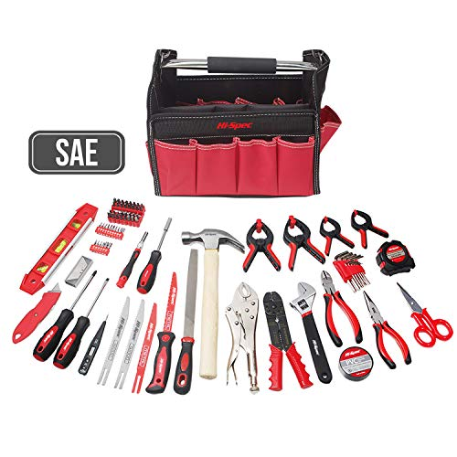Hi-Spec 101-piece tool set for the home, office, garage and workshop of the most popular tools in tool bag for daily do-it-yourselfers, decorating, hobbies, plumbing, electronics repair, crafts