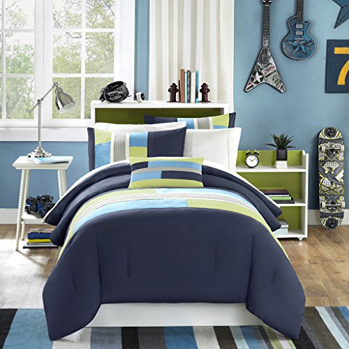 Mi-Zone Pipeline King/Cal King Kids Bedding Sets for Boys - Navy Blue, Striped Pieced - 4 Pieces Boy Comforter Set - Ultra Soft Microfiber Kid Childrens Bedroom Comforters