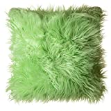 North End Décor Faux Fur Throw Pillow 18''x18'' With Insert, Mongolian Long Hair Lime Green