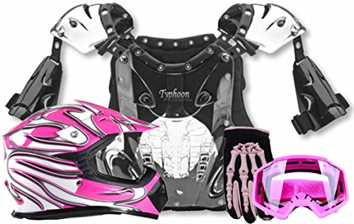 Kids Youth Offroad Helmet Gloves Goggles Chest Protector GEAR COMBO Motocross ATV Dirt Bike - Pink (Small)
