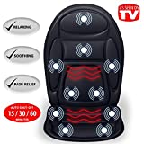 Gideon™ Seat Cushion Vibrating Massager for Back, Shoulder and Thighs with Heat Therapy / Massage, Relax, Sooth and Relieve Thigh, Shoulder and Back Pain (Black))