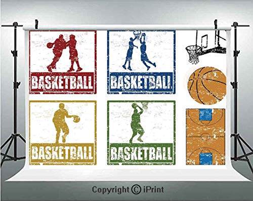 Sports Decor Photography Backdrops Collection of Vintage Rubber Stamp Print Style Illustration with Basketball Players,Birthday Party Background Customized Microfiber Photo Studio Props,7x5ft,Navy Gre