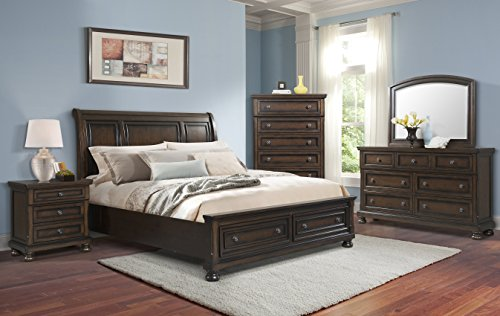 Cambridge 98128A5K1-DW Nassau 5 Piece Storage Bedroom Suite King Sleigh Bedroom Suite