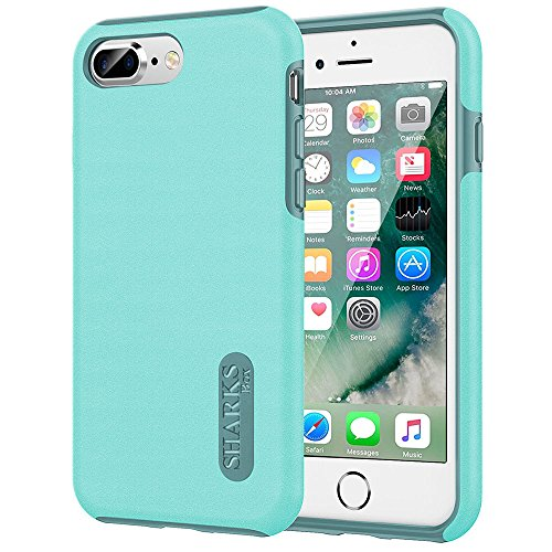 SHARKSBox iPhone 8 Plus Case iPhone 7 Plus Heavy Duty Protection Case Reinforced Corner TPU Bumper Cushion + Scratch Resistant Cushion Protection for iphone 8 Plus iPhone 7 (Aqua Mint)