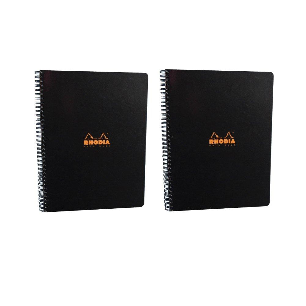 Rhodia Wirebound Notebook 9X11.75 Inches Black Grid (Pack of 2)