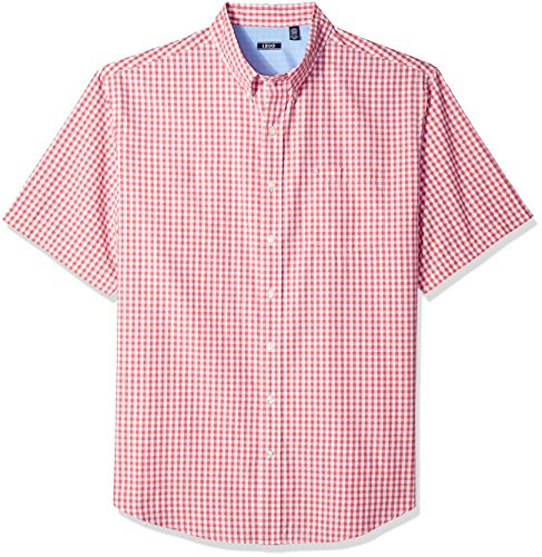 (IZOD Men's Big and Tall Breeze Short Sleeve Button Down Gingham Shirt, Rapture Rose, X-Large)