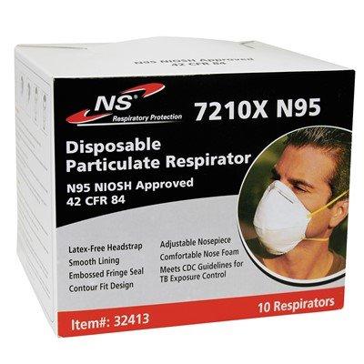 NS Respiratory Protection 7210X N95 Disposable Respirator Masks, 10/Box (10 Boxes)