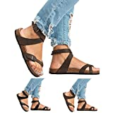 Royou Yiuoer Womens Shoes Criss Cross Gladiator Strappy Ankle Buckle Thong Summer Beach Ligthweight Flip Flop Flat Sandals Brown US 9