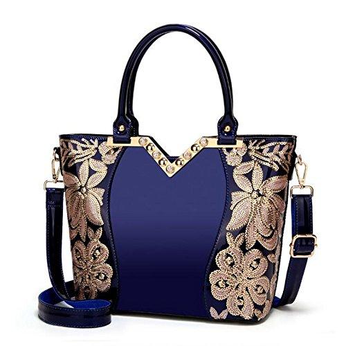 Blue Sac à à Sac bandoulière Femme Main pour Cuir White Sac Tsutou Sac à Color en bandoulière et Sac à Main à Main Hobo Main Sac à qRpFwZA