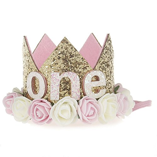 First Birthday Crown Baby Girl Flower Tiara Headband Party Hat Hairband -