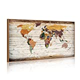 XXLarge 32''x55'' Vintage World Map Canvas Prints Atlas Framed Map Wall Art Decor for Travel Push Pins Marks Large Map Wall Decor (6 Retro Floater Frame)