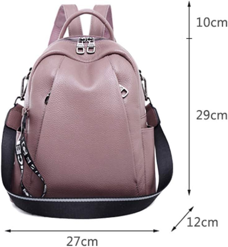KIMSAI Joker Personality Fashion First Layer Cowhide Ladies Backpack Simple Casual Student Bag Multifunctional Backpack Travel Package Leisure Mountaineering Bag,FragrantPurple,271229CM