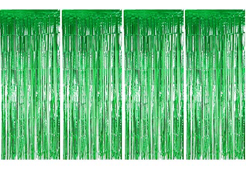 BTSD-home Green Foil Fringe Curtain, Metallic Photo Booth Tinsel Backdrop Door Curtains for Wedding Birthday and Special Festival Decoration(4 Pack, 12ft x 8ft) ()
