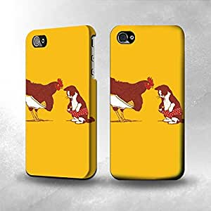 Apple iPhone 4 / 4S Case - The Best 3D Full Wrap iPhone Case - Rooster and Cat Joke